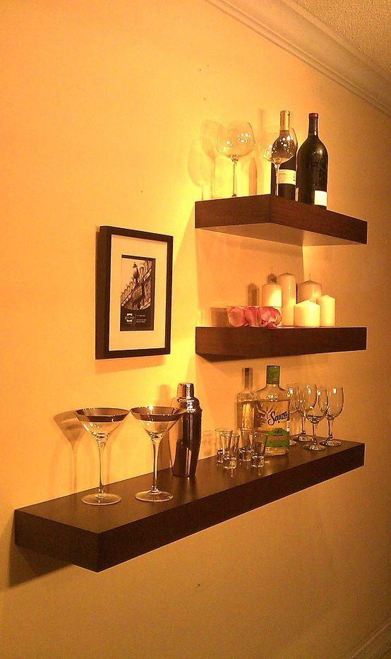 Floating wood shelves wall shelf walnut color 48 x 9 5 for Fancy wood bookshelves