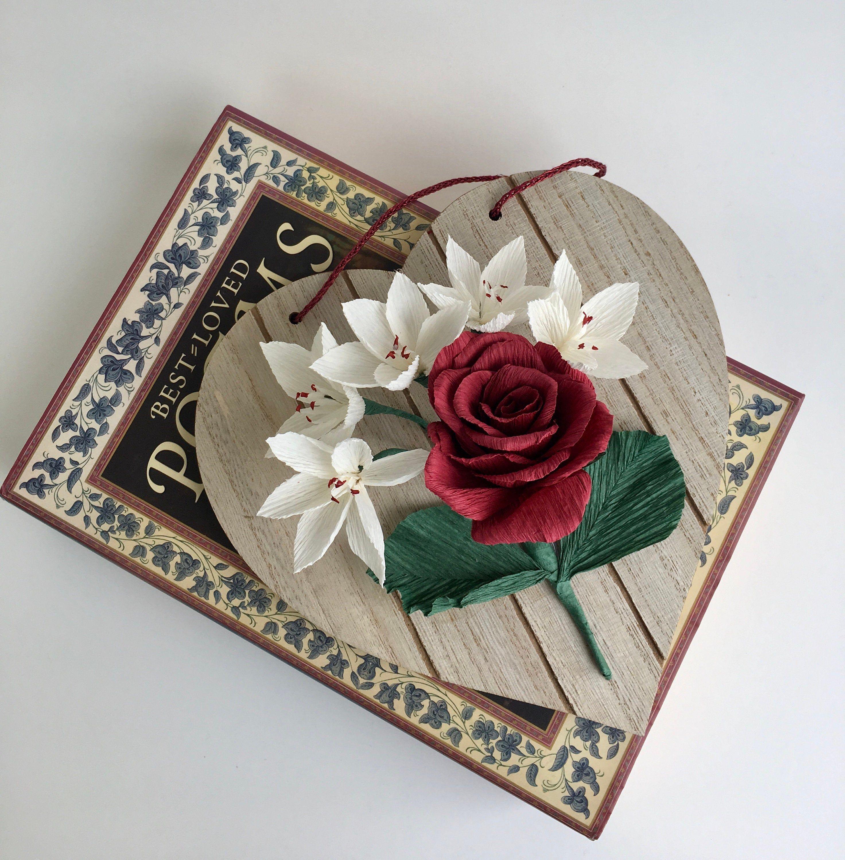 Valentine/'s Home Decor Crepe Paper Flower Bouquet Birthday Gift Paper Anniversary Wedding Flowers Gift Idea Floral Art