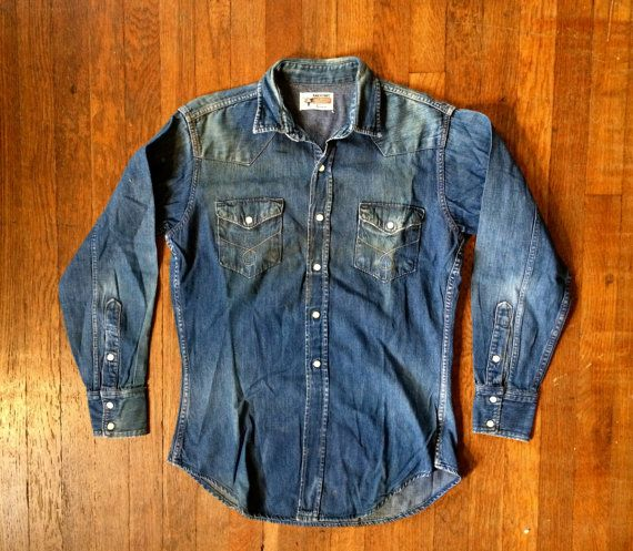 2952fc5e35 Vintage 1950s 1960s PENNEYS RANCHCRAFT Distressed Denim Enamel Snap Western  Cowboy SHIRT Size Small Hercules Levis Work Chambray