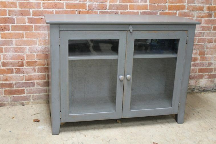Small Gray Media Cabinet With Glass Doors
