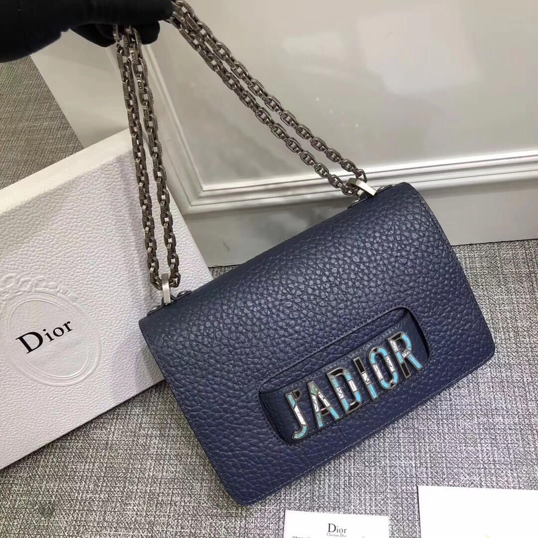 465deb693283 Dior J adior Flap Bag with Chain in Grained Calfskin Blue 2018 ...