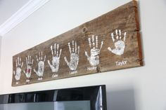 DIY Handprint Wall Sign | cute family room or kitchen home decor ideas | hand print of everyone in...