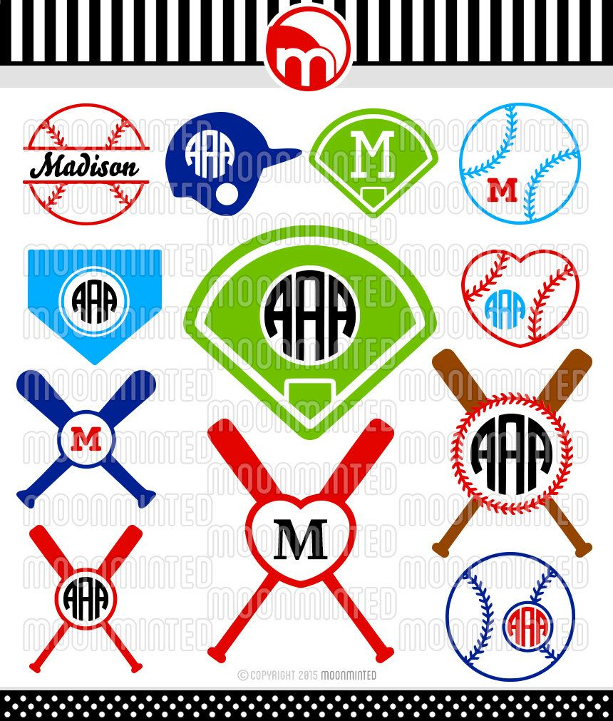 Baseball SVG Cut Files - Monogram Frames for Vinyl Cutters, Screen Printing, Silhouette, Die Cut Machines, & More by MoonMinted on Etsy https://www.etsy.com/listing/236707717/baseball-svg-cut-files-monogram-frames