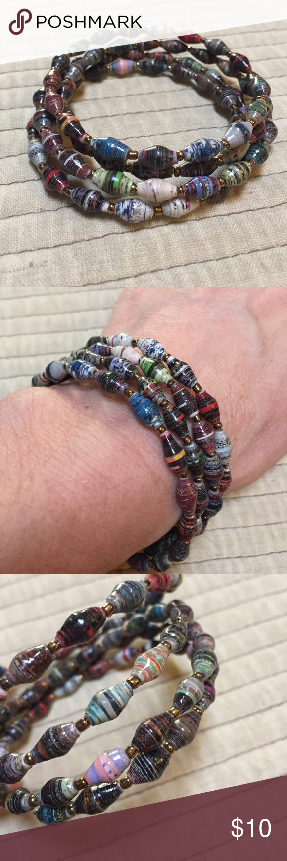 """Multi color Bracelet. This bracelet is 1 continuous spiral strand. It fits all wrist sizes. """"Beads"""" are rolled recycled paper. Jewelry Bracelets"""