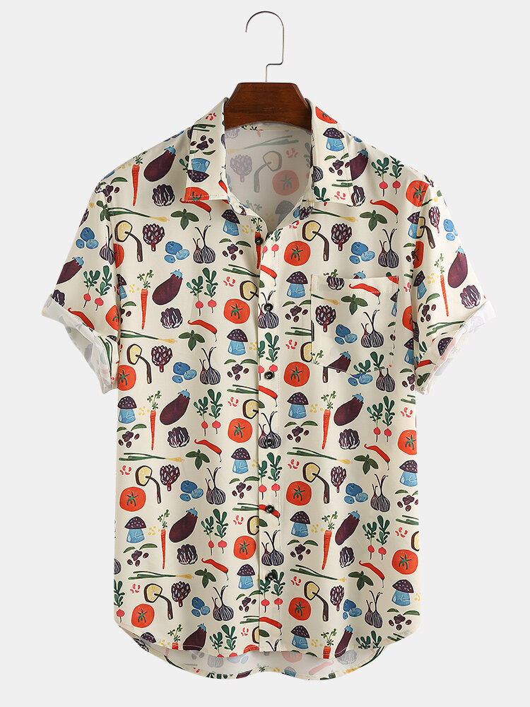 Vintage Floral Print Blouse Size Large Top Hipster Boho Shirt Al Bright Shirt Beige Brown Colors Short Sleeve Shirt