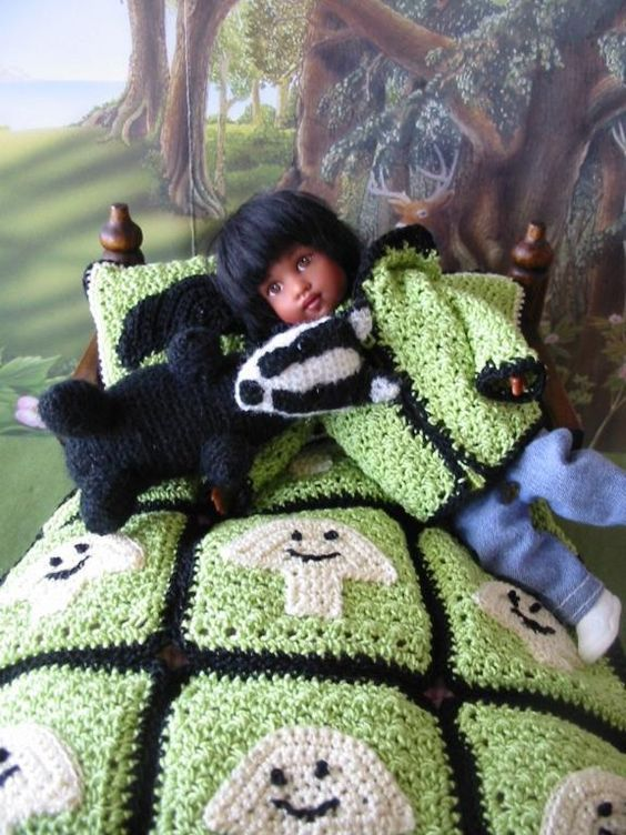 crochet pattern PDF for 7-8 inch child doll - Riley Kish - winter coat, basket, toy badger, blanket, and pillows - by PrincessOfCrochet on Etsy