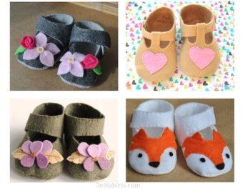 Woodland Fox Baby Shoe Pattern Felt Baby Shoes by DelilahIris