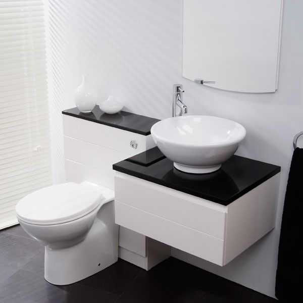 A Wall Mounted High White Gloss Vanity Unit And Wc Unit Featuring Soft A Close Drawer Black Contemporary Bathroom Vanity Basin Unit Bathroom Accessories Luxury