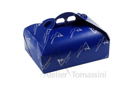 Blu con stampa Flexo Continua argento #packaging #ateliertomassini #portatorte #pasticceria #scatola #pastry #bakery #design #politenata #politenate #imballaggio #bakery #PE-protect