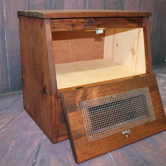 Wood Rustic Bread Box wooden Vegetable Potato Bin Storage & Wood Rustic Bread Box wooden Vegetable Potato Bin Storage ...
