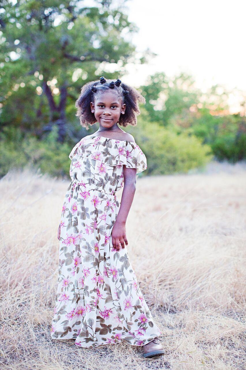 d7f689d9d62 ELIZABETH Flutter Sleeve Maxi Dress - Pink and Olive Floral- Peyton Bre