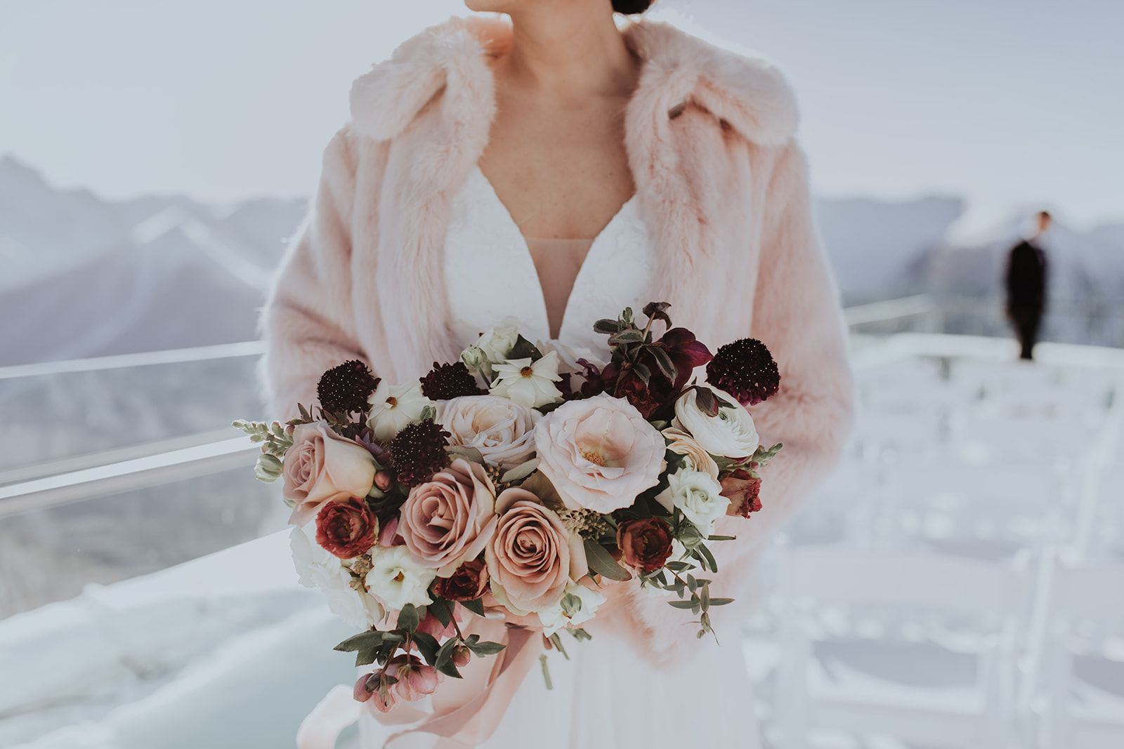 Moody Tones For This Outdoor Winter Wedding In Banff At Sky Bistro