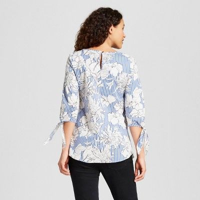 4887b2354d1b7 Maternity Tie Sleeve Floral Stripe Top - Isabel Maternity by Ingrid & Isabel  White/Blue S
