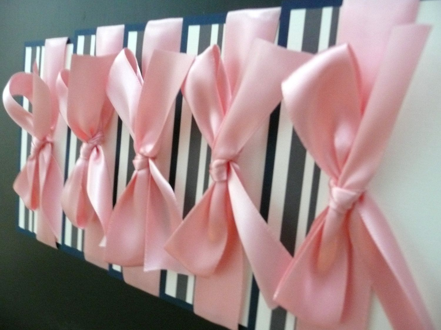 #Pink and Gray Striped Wedding Invitation - The Keri Layered Sample. can't go wrong with a pretty pink bow