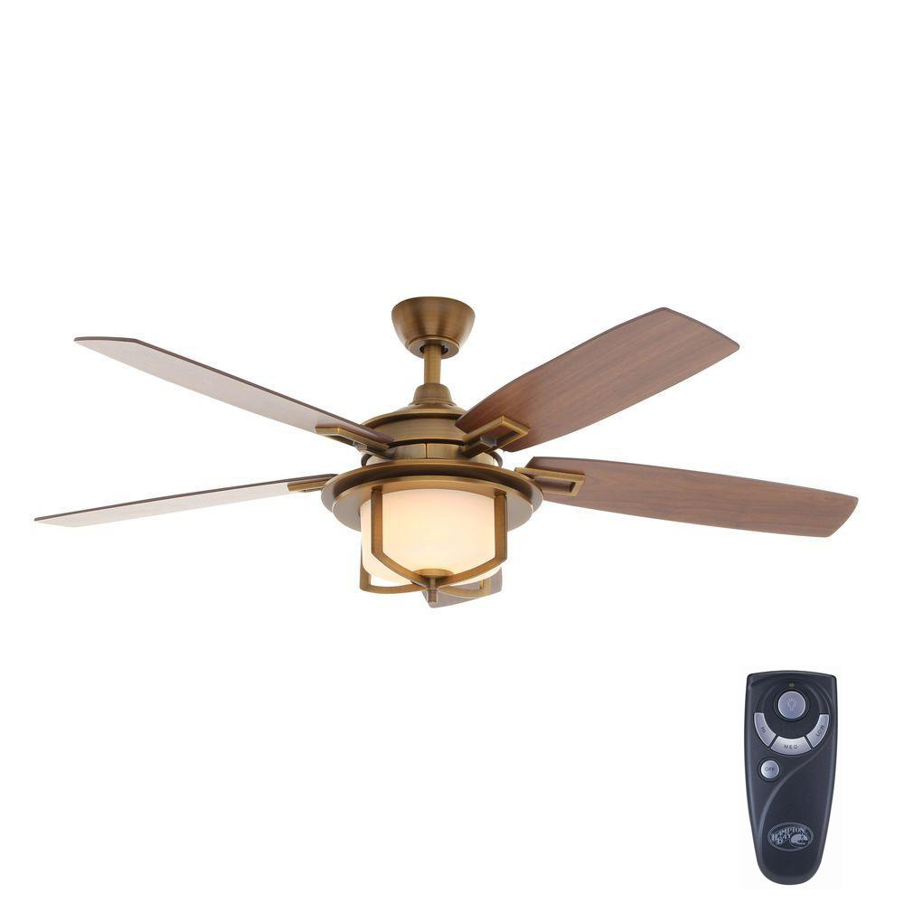 Add Value And Style To Your Home With This Hampton Bay Devereaux Weathered Brass Ceiling Fan Handheld Remote Control For Light Sd Operation