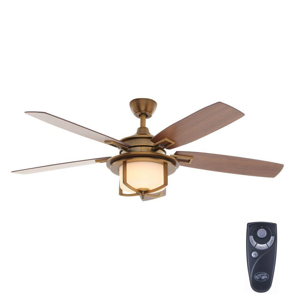 Hampton Bay Devereaux Ii 52 In Indoor Weathered Brass Ceiling Fan