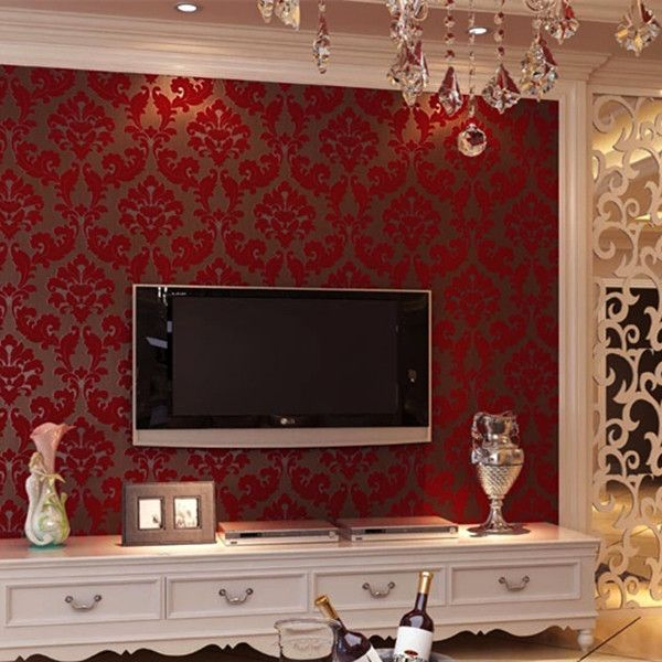 Vintage Non Woven Flocking Modern Romantic Wallpaper Wp86 Red Living Room Walls Wallpaper Living Room Design Living Room Wallpaper