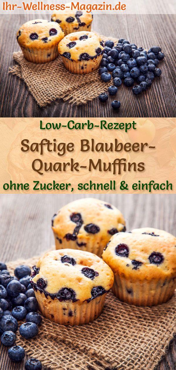 Saftige Low Carb Blaubeer-Quark-Muffins - einfaches Rezept ohne Zucker #simplecheesecakerecipe