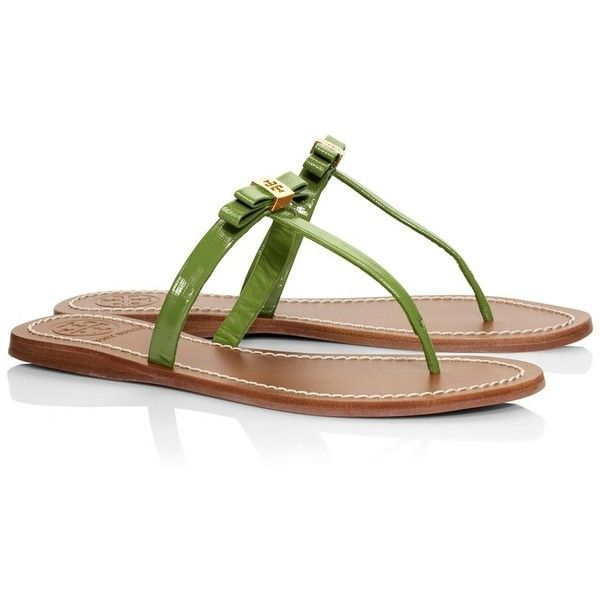 4a32146c007 Tory Burch Leighanne Patent Flat Thong Sandal ( 105) ❤ liked on Polyvore  featuring shoes
