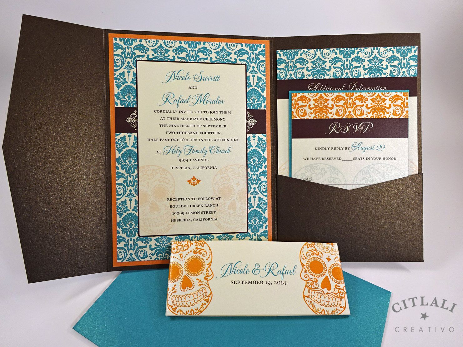 Day Of The Dead Wedding Invitations Dia De Los Muertos Invitation In Sugar Skull Damask Pocketfold Teal Orange Brown Ivory Or Any Colors Citlali