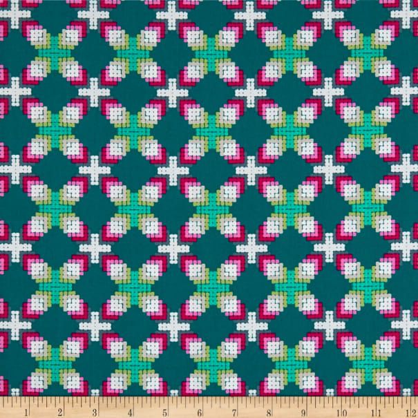 Art Gallery Decadence Ornate Parquetry Jeweled Teal - Fabric.com