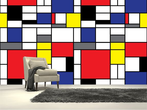 Mondrian wall mural room setting