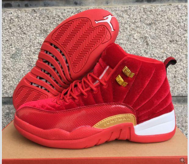 1a7f0fe73b2a Air Jordan 12 GS AJ 12 Retro Red Gold Men Women Basketball Shoes