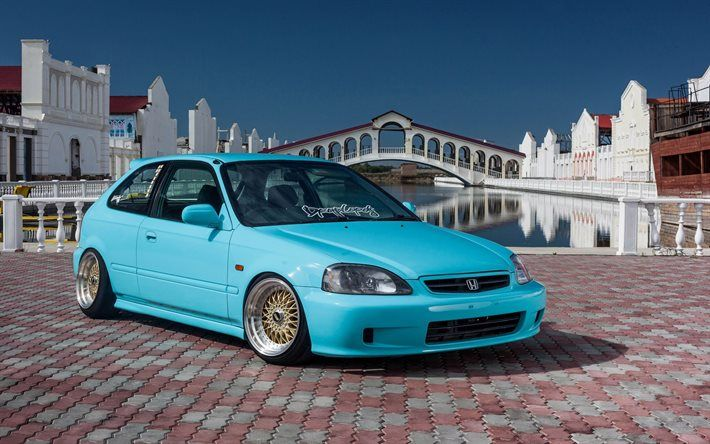 Honda Civic, JDM, Tuning, Stance, BBS, Blue Civic