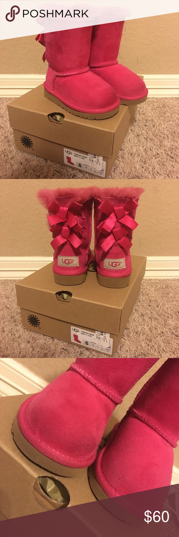 Pink Bailey Bow Uggs Hot pink Bailey Bow toddler Uggs size 6 with original box.