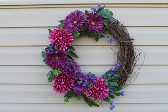 Summer wreath.Purple wreath. Spring wreath. Birthday gift. Purple floral wreath. via Etsy