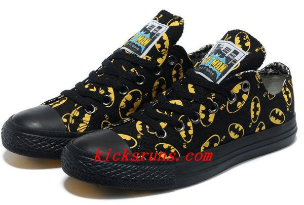 4ea58ac936e165 Converse Batman Black And Yellow Symbol Printed Low Tops Canvas ...