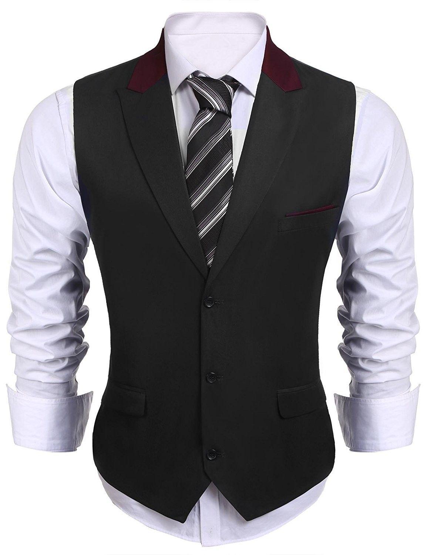 Men S V Neck Lapel Sleeveless Suit Vest Slim Fit Skinny Dress Vest Waistcoat Black Ca189t45629 Mens Vest Fashion Mens Pants Fashion Mens Outfits [ 1500 x 1154 Pixel ]