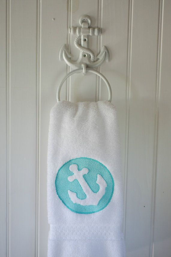 Embossed Embroidered Anchor White Hand Towel   Beach Decor   Beach House    Nautical Decor