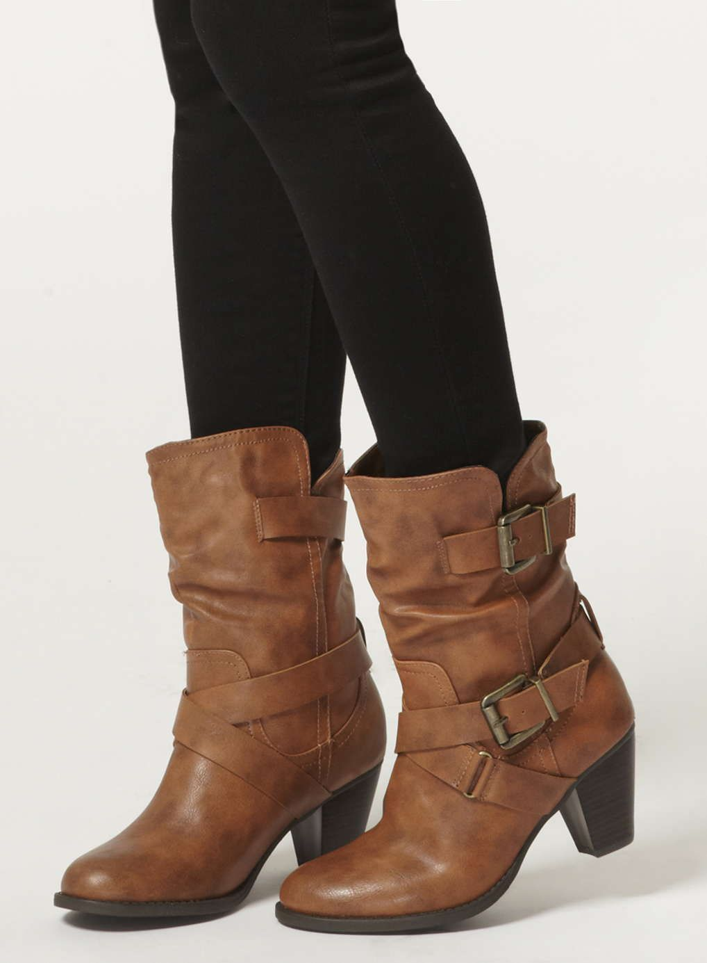 Tan 'betsey' mid calf boots Dorothy Perkins in 2019