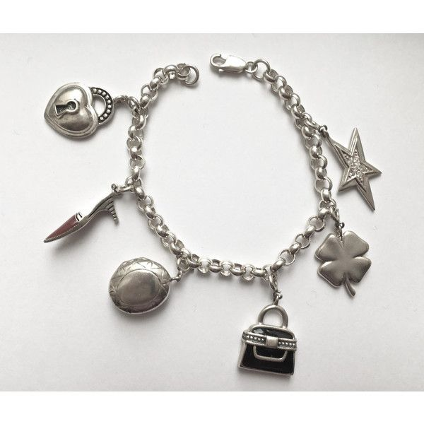 Sterling Silver Charm Bracelet-6 Sterling Charms, 33 grams, Rolo Link... (375 DKK) ❤ liked on Polyvore featuring jewelry, pendants, sterling silver charms pendants, sterling silver charms, locket charms, charm jewelry and star charms