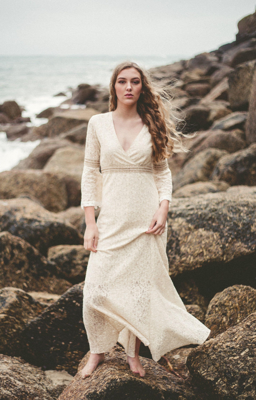 Folk Wedding Dress, Sleeved Wedding Dress, Celtic Wedding