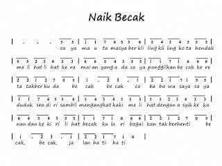 Naikbecak Kidssong Indonesian Dengan Gambar Lagu Lirik Lagu