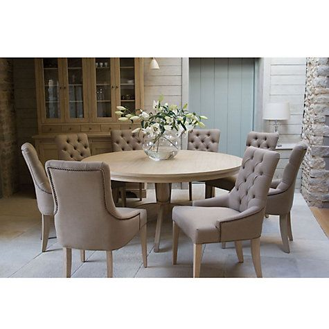 John Lewis Neptune Henley 8 Seat Round Dining Table With Chairs In Mocha Linen