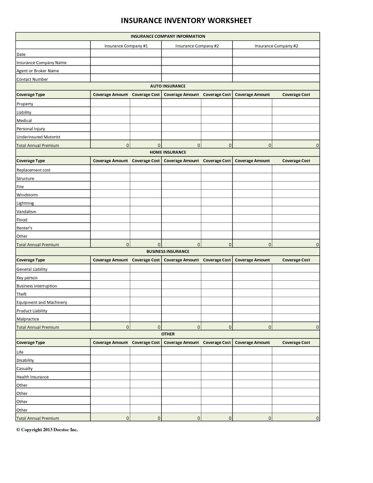 Auto Insurance Comparison Spreadsheet