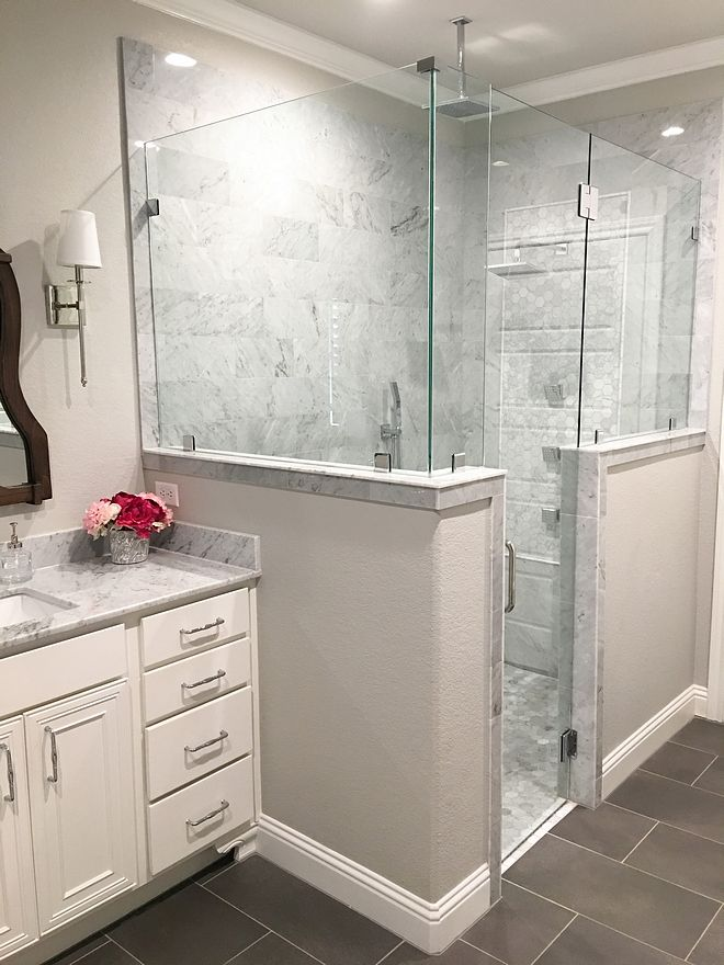 Shower Wall Tile Bianco Carrara Marble 6x12 Shower Floor ...