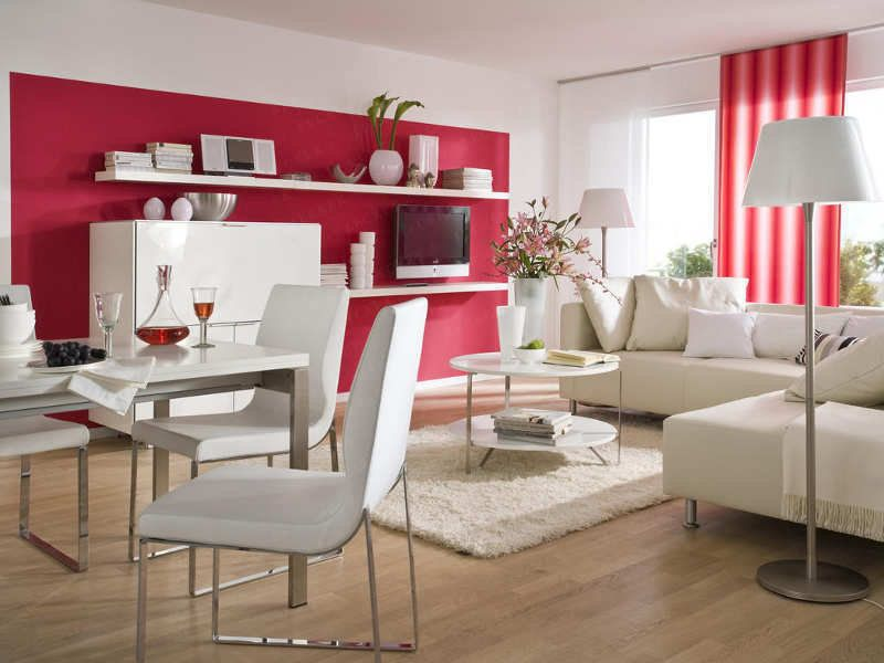 Wandgestaltung Wohnzimmer, Fenster mit Schiene - rot Ideen rund - wohnideen wohnzimmer farben