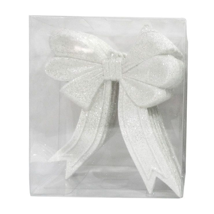 5 Count White Glitter Bow