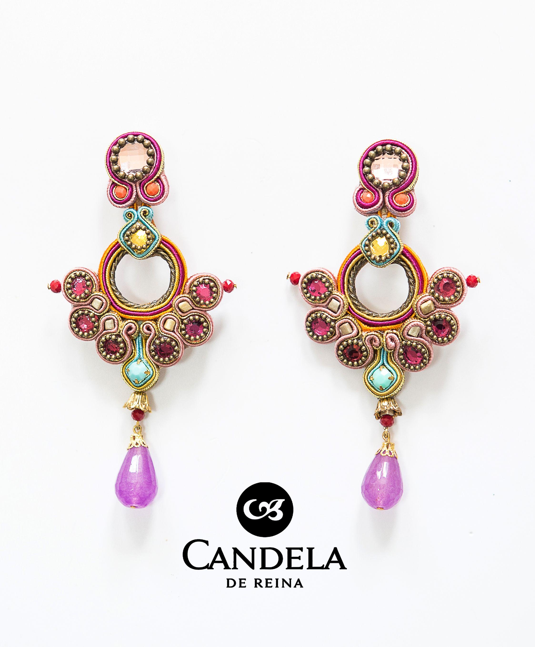 Candela de Reina Womens Viridiana Jewel Flower Earrings Black