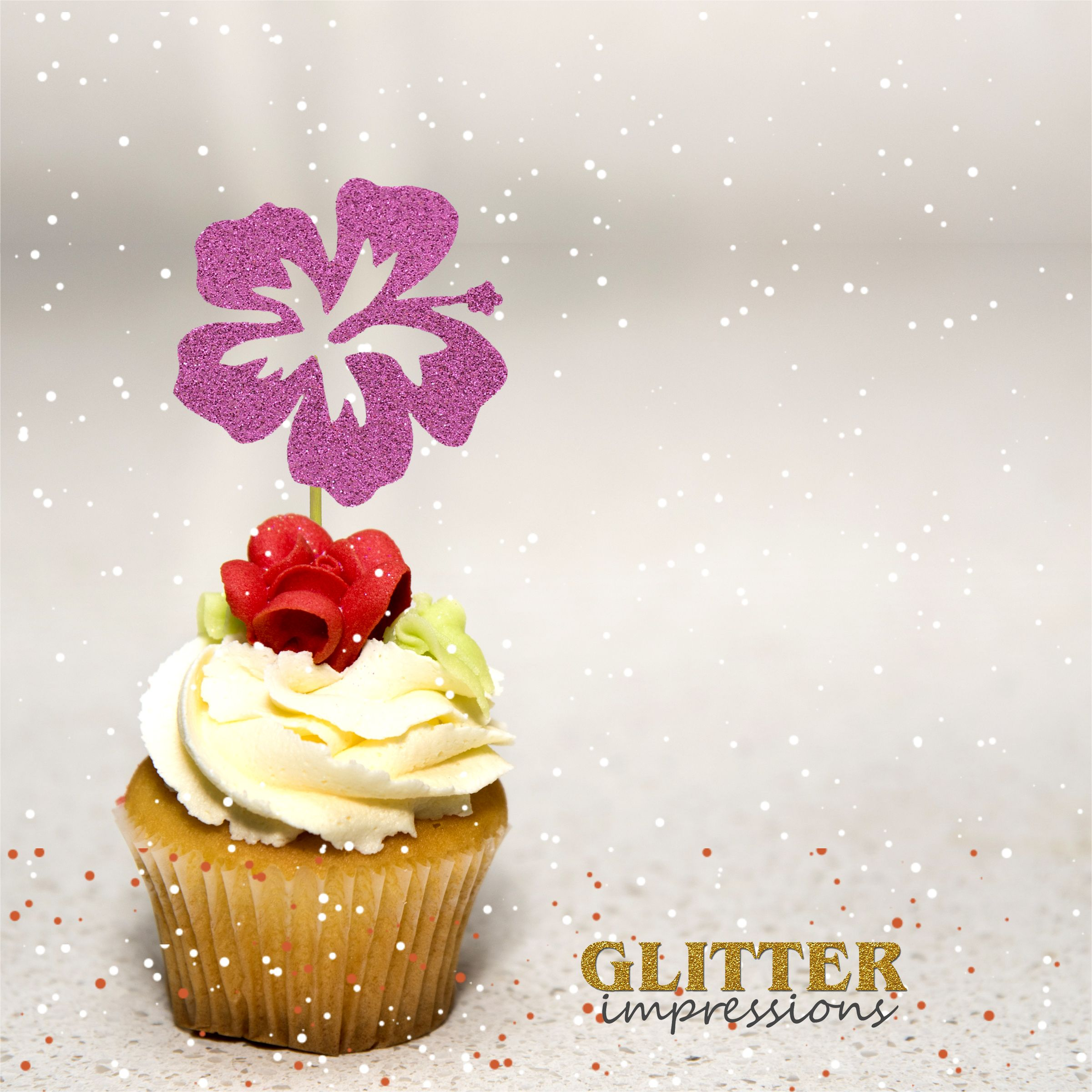 Hibiscus Flower Cupcake Topper Hawaiian Themed Party Cupcake Topper