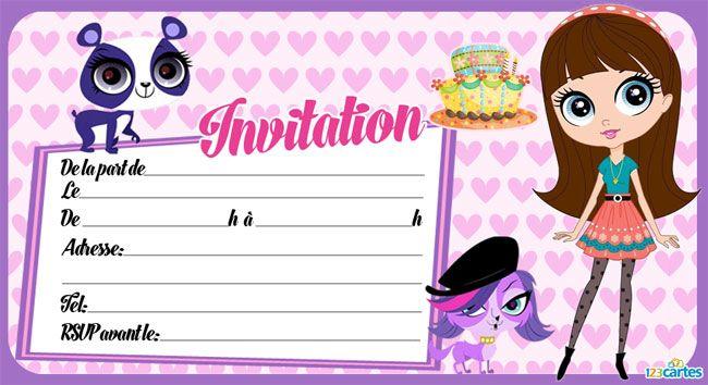 Invitation littlest petshop imprimer anniversaire l na s invitation anniversaire - Petshop a colorier ...