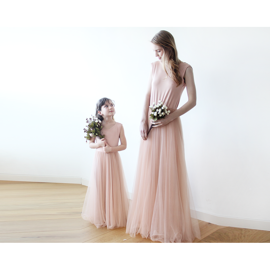 a85f650eed Romantic maxi backless bridesmaids pink tulle dress- Great for any evening  occasion- special party, bridesmaids dress, and for prom.