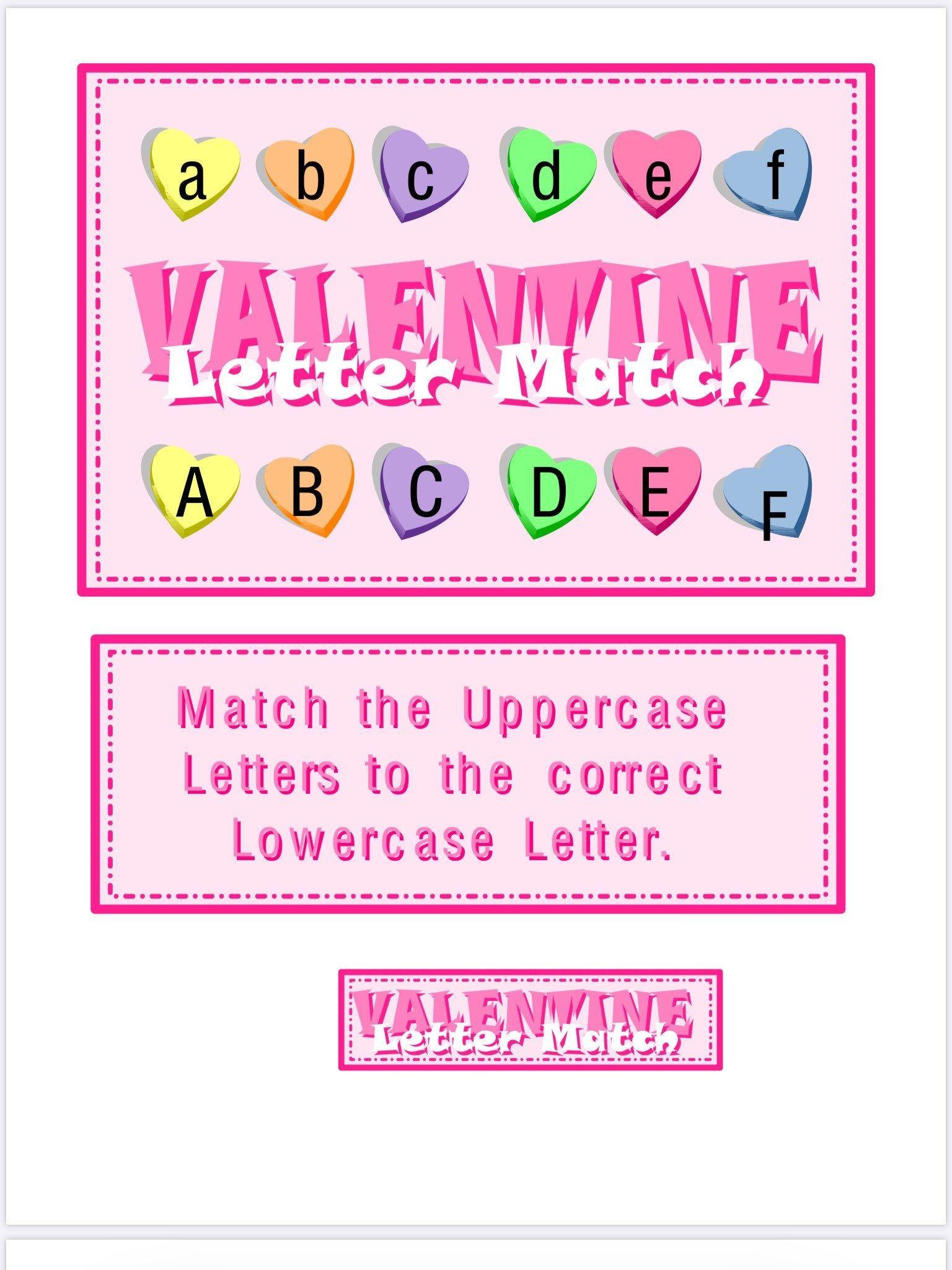 INSTANT DOWNLOAD Valentine Letter Match File Folder