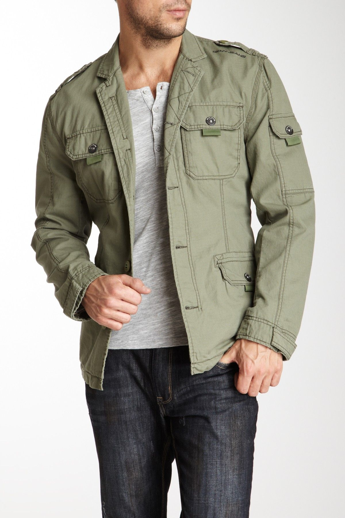 302f8a015 DKNY Jeans Men Cargo Jacket | Moda | Moda, Vaqueros hombre y Ropa