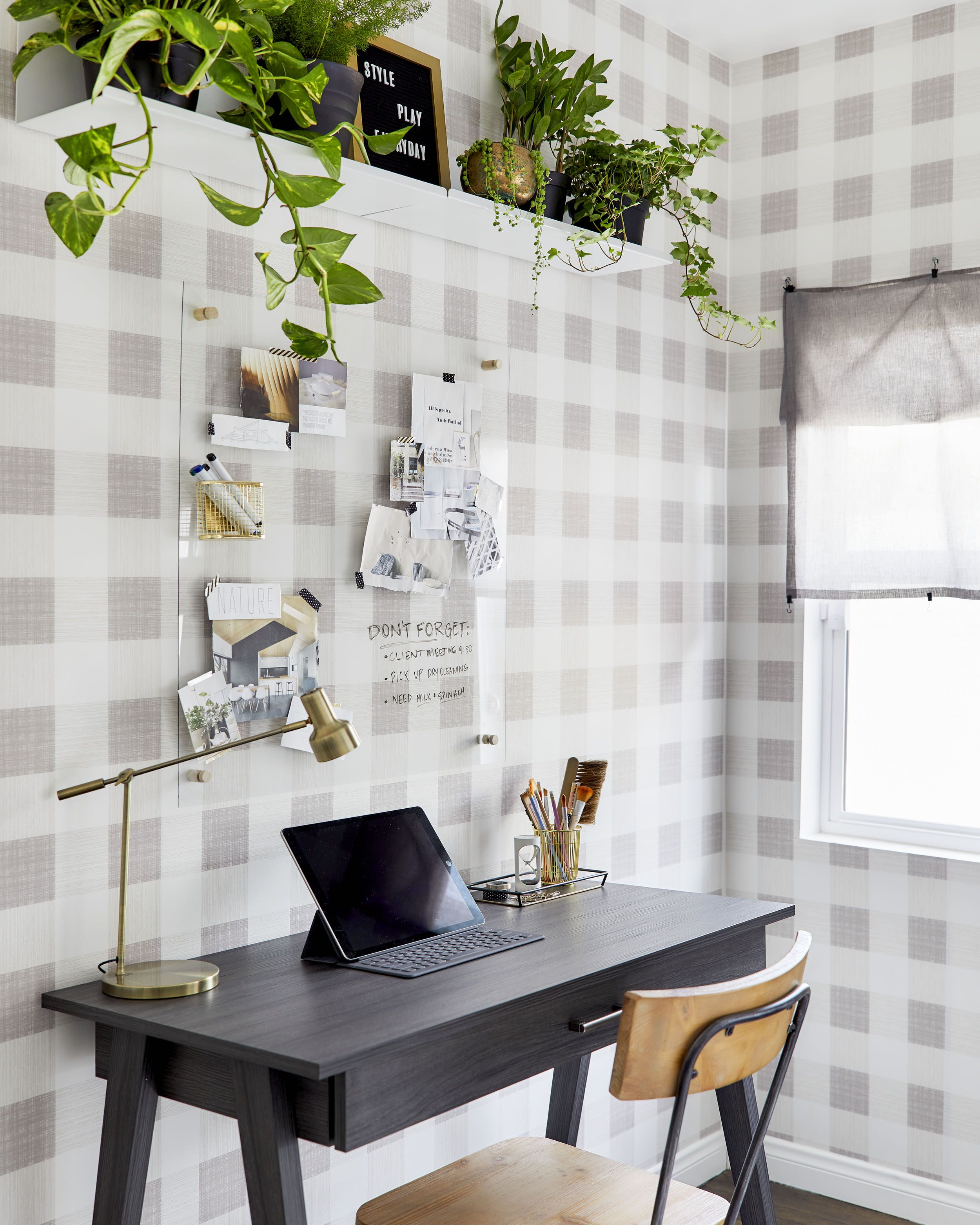 A Home Office Makeover With Threshold Removable Wallpaper By Target Home Office Design Office Makeover Office Wallpaper