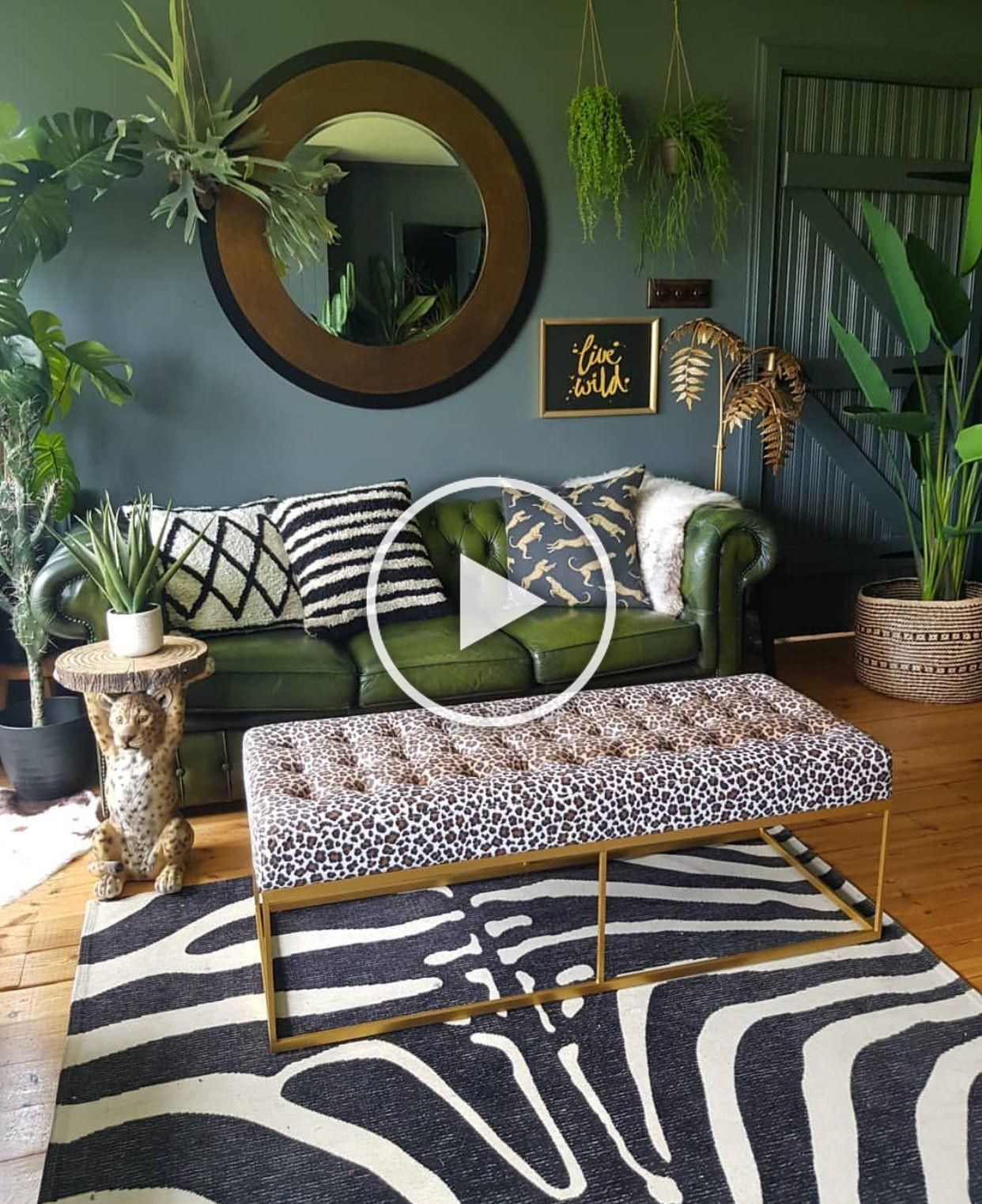 donwpipe walls green leather chesterfield sofa leopard